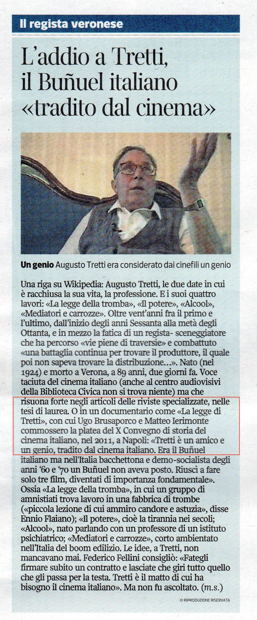 Oggi sul Corriere della Sera articolo di giornale sul documentario su Augusto Tretti che ho realizzato insieme a Ugo Brusaporco 'La Legge di Tretti'